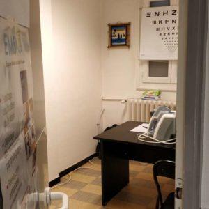 Présence de l'Équipe Mobile de Santé Visuelle à Saint-Etienne-de-Tinée. Salle de consultation de l'orthoptiste.